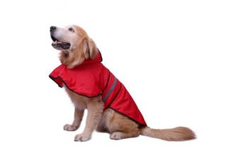 (Large, Red) - HDE Dog Raincoat Hooded Slicker Poncho for Small to X-Large Dogs and Puppies