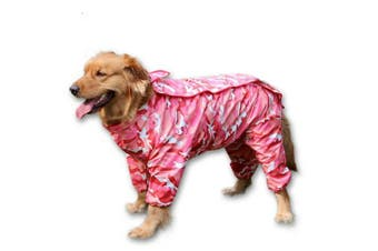 (30, Pink) - BBEART Dog Raincoat, Fashion Four-legged Hooded Pet Raincoat Rain Jacket Jumpsuit Rain Poncho Coat Slicker Camouflage Long Sleeves Rainproof Clothes for Small Medium Large Dogs Cool