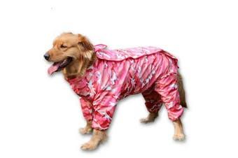 (12, Pink) - BBEART Dog Raincoat, Fashion Four-legged Hooded Pet Raincoat Rain Jacket Jumpsuit Rain Poncho Coat Slicker Camouflage Long Sleeves Rainproof Clothes for Small Medium Large Dogs Cool