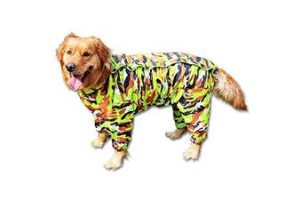 (14, Army Green) - BBEART Dog Raincoat, Fashion Four-legged Hooded Pet Raincoat Rain Jacket Jumpsuit Rain Poncho Coat Slicker Camouflage Long Sleeves Rainproof Clothes for Small Medium Large Dogs Cool