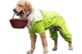 (M, Green) - OSPet Summer Comfort Breathable Waterproof Four Feet Raincoat For Large Dog