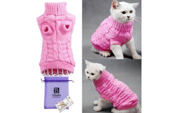 (Small, Pink) - Bro'Bear Cable Knit Turtleneck Sweater for Small Dogs & Cats Knitwear