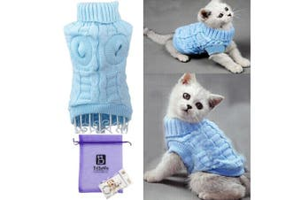 (Medium, Blue) - Bro'Bear Cable Knit Turtleneck Sweater for Small Dogs & Cats Knitwear