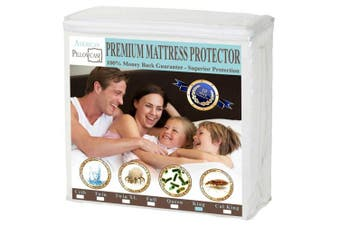 (King) - American Pillowcase King Mattress Protector Hypoallergenic Waterproof - Vinyl Free - Fitted Sheet Style