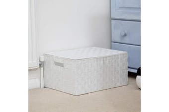 (Storage Medium) - ARPAN Basket Hamper Bin with Lid and Handle for Easy Carrying-Convenient Organiser Box for Clothes, Toys-Chest Trunk Modern Tapered Storage, White, Medium