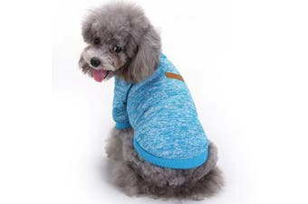 (Small, Light blue) - Pet Dog Clothes Knitwear Dog Sweater Soft Thickening Warm Pup Dogs Shirt Winter Puppy Sweater for dogs