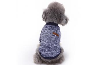(Small, Navy blue) - Pet Dog Clothes Knitwear Dog Sweater Soft Thickening Warm Pup Dogs Shirt Winter Puppy Sweater for dogs