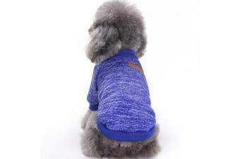 (Small, Dark blue) - Pet Dog Clothes Knitwear Dog Sweater Soft Thickening Warm Pup Dogs Shirt Winter Puppy Sweater for dogs