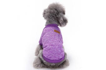 (Medium, Purple) - Pet Dog Clothes Knitwear Dog Sweater Soft Thickening Warm Pup Dogs Shirt Winter Puppy Sweater for dogs