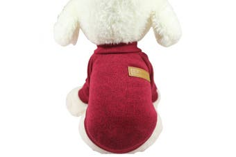 (Large, Wine red) - Pet Dog Clothes Knitwear Dog Sweater Soft Thickening Warm Pup Dogs Shirt Winter Puppy Sweater for dogs