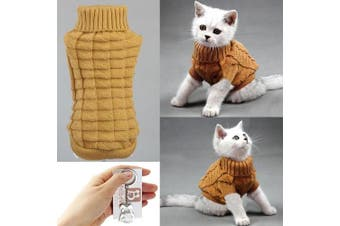 (Medium, Brown) - Bolbove Cable Knit Turtleneck Sweater for Small Dogs & Cats Knitwear Cold Weather Outfit