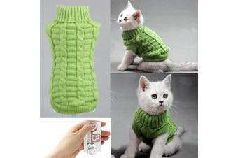 (Medium, Green) - Bolbove Cable Knit Turtleneck Sweater for Small Dogs & Cats Knitwear Cold Weather Outfit