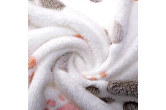 (80cm  x 60cm , Beige) - Allisandro Super Soft and Fluffy Premium Flannel Fleece Dog Throw Blanket,Appealing and Cute Paw Prints Equally for Puppy Cat