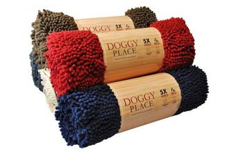 (Large (90cm  x 70cm ), Red) - My Doggy Place-Ultra Absorbent Microfiber Chenille Dog Door Mat, Durable, Quick Drying, Washable, Prevent Mud Dirt(Colours: Red, Oatmeal, Brown, Charcoal, Navy Blue; Sizes:Medium,Large,X-Large Runner)