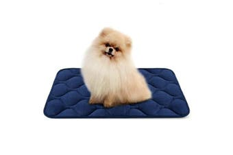 (70cm , Blue) - Dog Bed Mat Washable - Soft Fleece Crate Pad - Anti-slip Matress for Small Medium Large Pets by HeroDog