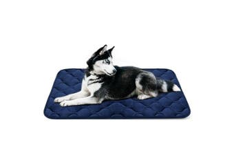 (110cm , Blue) - Dog Bed Mat Washable - Soft Fleece Crate Pad - Anti-slip Matress for Small Medium Large Pets by HeroDog