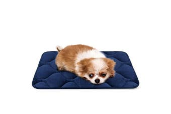 (50cm , Blue) - Dog Bed Mat Washable - Soft Fleece Crate Pad - Anti-slip Matress for Small Medium Large Pets by HeroDog