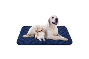 (120cm , Blue) - Dog Bed Mat Washable - Soft Fleece Crate Pad - Anti-slip Matress for Small Medium Large Pets by HeroDog