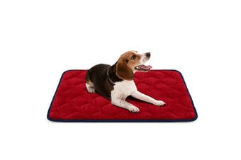 (90cm , Red) - Dog Bed Mat Washable - Soft Fleece Crate Pad - Anti-slip Matress for Small Medium Large Pets by HeroDog