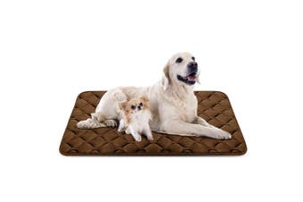 (120cm , Coffee) - Dog Bed Mat Washable - Soft Fleece Crate Pad - Anti-slip Matress for Small Medium Large Pets by HeroDog