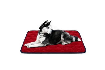 (110cm , Red) - Dog Bed Mat Washable - Soft Fleece Crate Pad - Anti-slip Matress for Small Medium Large Pets by HeroDog
