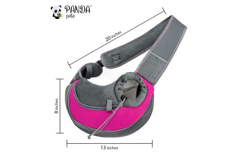 (For Small Pets (up to 4.1kg), Pink) - Pet Sling Carrier by Panda Pets - Small Dog Cat Sling Pet Carrier Bag Safe Reversible Comfortable Machine Washable Adjustable Pouch Single Shoulder Carry Tote Handbag for Pets Below 4.5kg