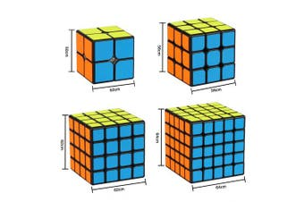 (Black Set) - Aiduy Speed Cube Set, Magic Cube Set of 2x2x2 3x3x3 4x4x4 5x5x5 Speed Cube Vivid Colour Sticker, Puzzle Cube with Gift Box Great Gift for Kids