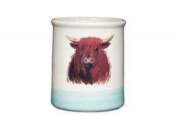 "KitchenCraft Apple Farm Hand-Finished 'Hamish Highland Cow' Ceramic Utensil Holder, 12.5 x 12.5 x 14.5 cm (5"" x 5"" x 5.5"") - Cream / Sage Green"