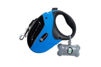 (Blue) - TaoTronics Retractable Dog Leash, 4.9m Dog Walking Leash for Medium Large Dogs up to 50kg, Tangle Free, One Button Break & Lock , Dog Waste Dispenser and Bags included