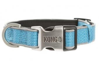 KONG Reflective Premium Neoprene Padded Dog Collar by Barker Brands Inc. (Blue, Medium)