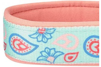 (Large, Padded Collar - Pastel Blue) - Blueberry Pet 12 Patterns Soft & Comfy Flower Print Neoprene Padded Dog Collars, Harnesses or Leashes