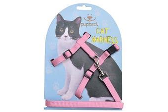 (Pink) - Adjustable Cat Harness Nylon Strap Collar with Leash Black PUPTECK