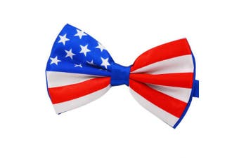 (red blue white) - Amajiji Formal Dog Bow Ties for Medium & Large Dogs (D114 100% polyester)
