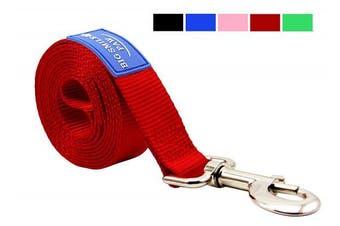 (Red) - BIG SMILE PAW Dog Leash Nylon Durable Loop handle,1.5m Long 2.5cm Wide