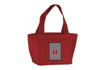 (N) - Caroline's Treasures CJ1021-N-RD-8808 Letter N Monogram - Houndstooth Black Zippered Insulated School Washable and Stylish Lunch Bag Cooler, Large, Red