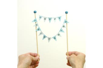 Amazing Buntings-Happy Christening-Bunting Cake Topper-Blue Pastel-Fully Assembled-178