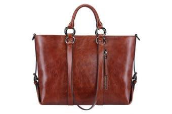 (Grain Leather-brown) - S-Zone 3-Way Ladies Women's Cow Split Leather Tote Bag Handbag Shoulder Bags