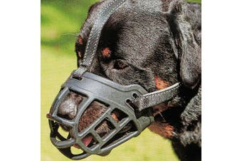 (4 (Snout 30cm  - 34cm ), Black) - Dog Muzzle,Soft Basket Silicone Muzzles for Dog, Best to Prevent Biting, Chewing and Barking, Allows Drinking and Panting, Used with Collar