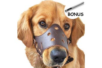 (M, Brown) - Dog Muzzle Leather, Comfort Secure Anti-barking Muzzles for Dog, Breathable and Adjustable, Allows Dringking and Eating, Used with Collars
