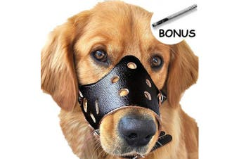 (XL, Black) - Dog Muzzle Leather, Comfort Secure Anti-barking Muzzles for Dog, Breathable and Adjustable, Allows Dringking and Eating, Used with Collars