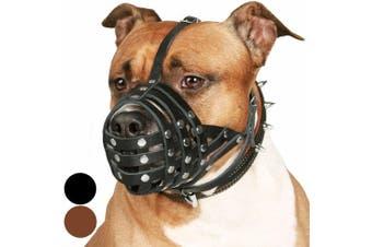 (Black) - CollarDirect PitBull Dog Muzzle Leather AmStaff Muzzles Staffordshire Terrier Secure Basket