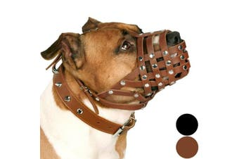 (Brown) - CollarDirect PitBull Dog Muzzle Leather AmStaff Muzzles Staffordshire Terrier Secure Basket