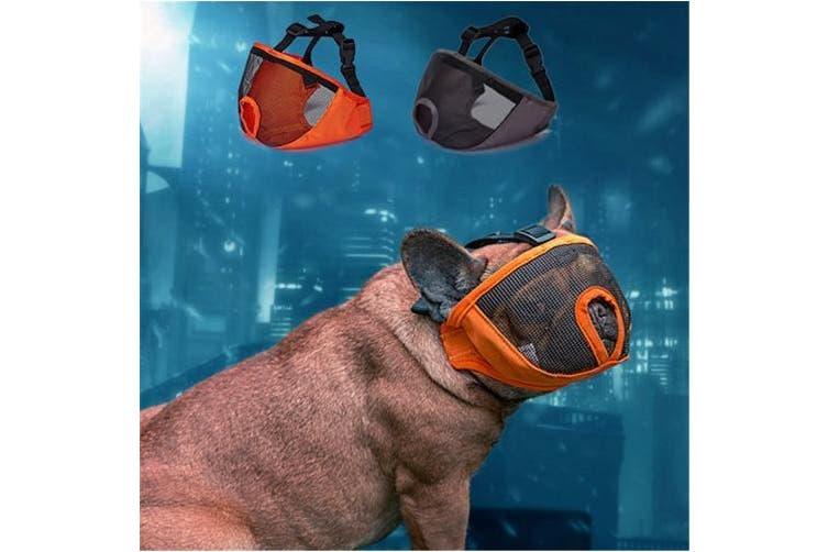 (S(23cm  - 30cm ), Gray) - JYHY Short Snout Dog Muzzle- Adjustable Breathable Mesh Bulldog Muzzle for Biting Chewing Barking Training Dog Mask