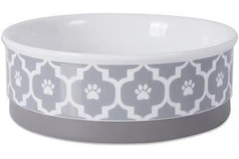(Medium Round, Gray) - Bone Dry DII Lattice Square Ceramic Pet Bowl for Food & Water
