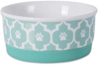 (Small Round, Aqua) - Bone Dry DII Lattice Square Ceramic Pet Bowl for Food & Water