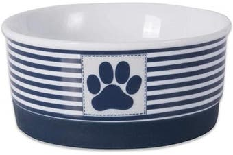(Small, Nautical Blue) - Bone Dry DII Paw Patch & Stripes Ceramic Pet Bowl for Food & Water with Non-Skid Silicone Rim for Dogs and Cats