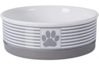 (Medium, Gray) - Bone Dry DII Square Ceramic Pet Bowl for Food & Water with Non-Skid Silicone Rim for Dogs and Cats