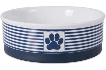 (Medium, Nautical Blue) - Bone Dry DII Paw Patch & Stripes Ceramic Pet Bowl for Food & Water with Non-Skid Silicone Rim for Dogs and Cats