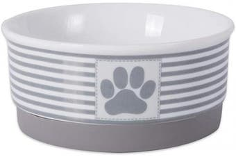 (Small, Gray) - Bone Dry DII Paw Patch & Stripes Ceramic Pet Bowl for Food & Water with Non-Skid Silicone Rim for Dogs and Cats