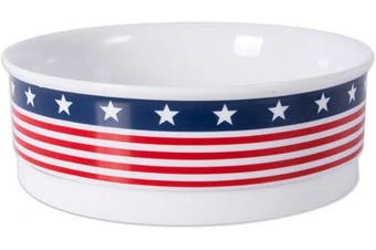 (Medium) - DII Bone Dry Patriotic Ceramic Pet Bowl for Food & Water with Non-Skid Silicone Rim for Dogs and Cats